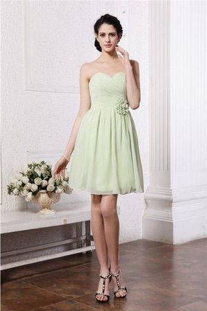 Sleeveless Pleated A-Line Sweetheart Flowers Bridesmaid Dress