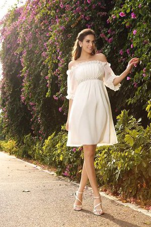 Chiffon Empire Waist Half Sleeves Off The Shoulder Wedding Dress