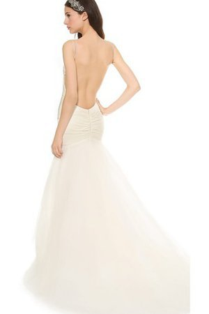 Long Spaghetti Straps Natural Waist Sexy Sleeveless Wedding Dress
