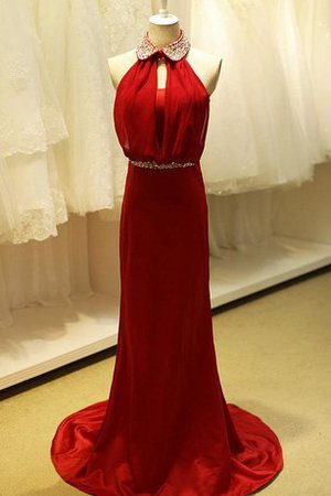 Sleeveless A-Line High Neck Lace Fabric Prom Dress