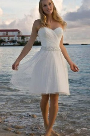 Knee Length Informal & Casual Beading Pleated Zipper Up Wedding Dress