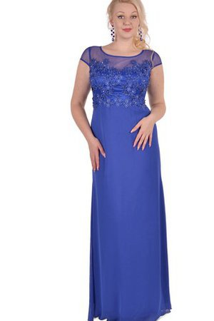Sheath Floor Length Appliques Capped Sleeves Chiffon Prom Dress
