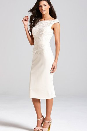 Tea Length Short Sleeves Elegant & Luxurious Sheath Bridesmaid Dress