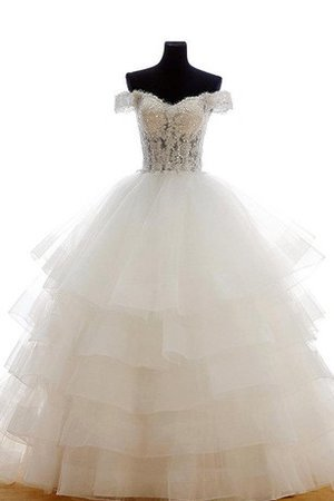 Off The Shoulder Tiered Short Sleeves Tulle Beading Wedding Dress