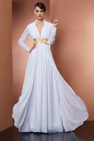Long Sleeves V-Neck Long A-Line Evening Dress
