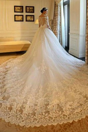 3/4 Length Sleeves Church Demure Cathedral Train Zipper Up Exclusive Wedding Dress