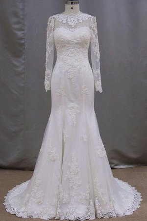 Floor Length Lace-up Lace Fabric Long Sleeves Court Train Wedding Dress