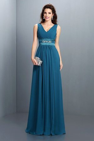 Empire Waist V-Neck Beading A-Line Long Bridesmaid Dress