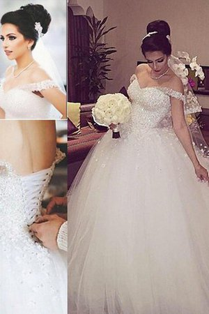 Sleeveless Ball Gown Off The Shoulder Tulle Court Train Wedding Dress