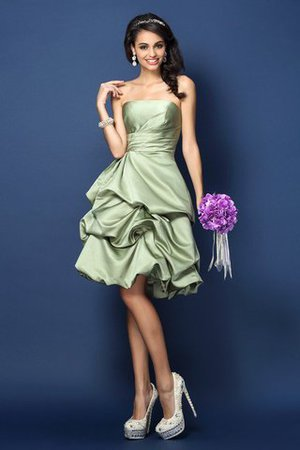Knee Length Strapless Sleeveless Satin Bridesmaid Dress