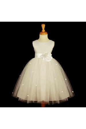 Empire Waist Sleeveless Pleated Ball Gown Flowers Flower Girl Dress