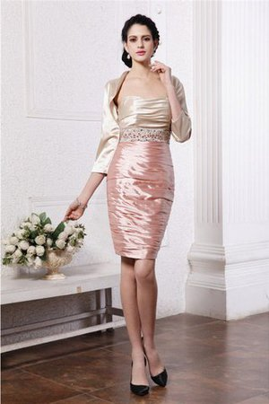 Elastic Woven Satin Short Sheath Beading Zipper Up Mother Of The Bride Dress