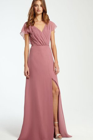 V-Neck Split Front Floor Length A-Line Chiffon Bridesmaid Dress
