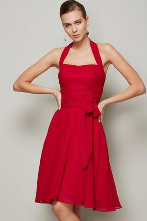 Pleated Short Sleeveless Accented Bow Natural Waist Bridesmaid Dress