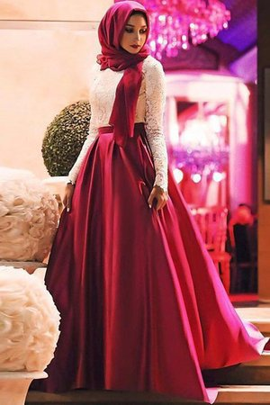 Natural Waist Satin Marvelous Long Sleeves Lace A-Line Scoop Prom Dress