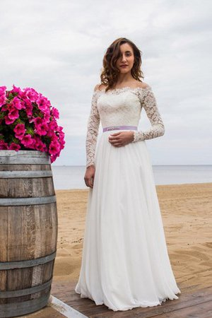 Long Sleeves A-Line Floor Length Appliques Wedding Dress
