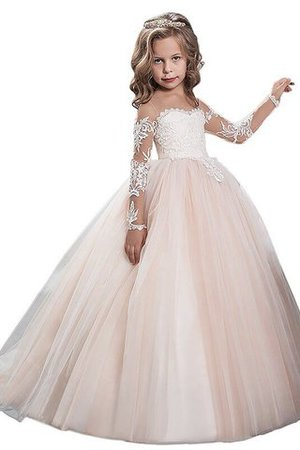 Flowers Ball Gown Scoop Natural Waist Floor Length Flower Girl Dress