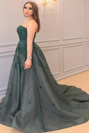 Appliques A-Line Sleeveless Court Train Sweetheart Prom Dress