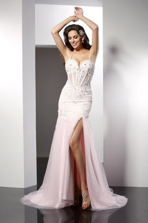Mermaid Long Tulle Appliques Chapel Train Evening Dress