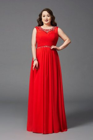 Plus Size Natural Waist Scoop Zipper Up Long Prom Dress