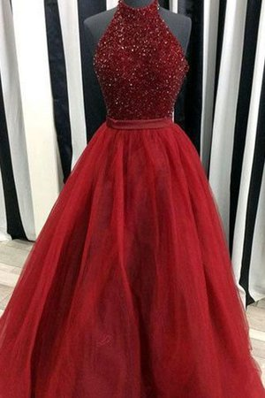 High Neck Floor Length Beading Ball Gown Sleeveless Prom Dress