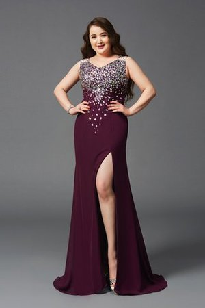 Chiffon Zipper Up Natural Waist Sweep Train Plus Size Prom Dress