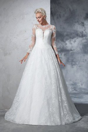 Jewel Ball Gown Long Sleeves Lace Long Wedding Dress