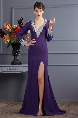 Sweep Train Long Backless Long Sleeves V-Neck Evening Dress