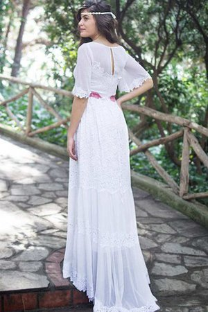 Bateau Simple Lace Fabric Floor Length Wedding Dress