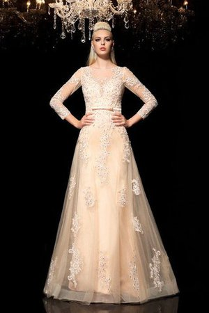 Princess Long Sleeves Zipper Up Appliques Floor Length Wedding Dress