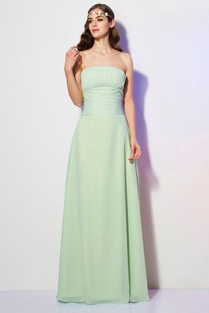 Long Strapless Floor Length A-Line Chiffon Bridesmaid Dress