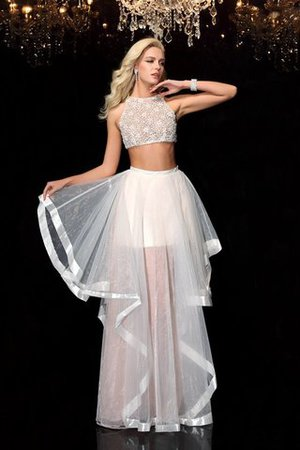 Empire Waist Floor Length Tulle Appliques Long Evening Dress