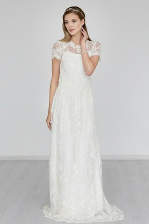 Short Sleeves Zipper Up Romantic A-Line Lace Fabric Wedding Dress