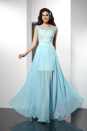 Chiffon Princess Floor Length Bateau Appliques Cocktail Dress