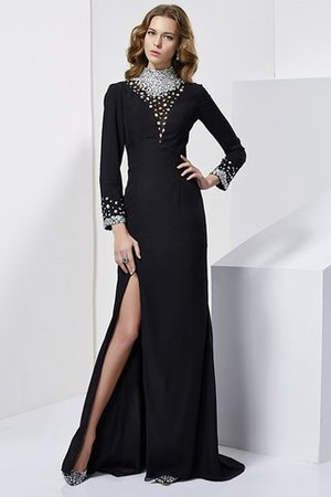 Sheath Chiffon Natural Waist High Neck Long Sleeves Evening Dress