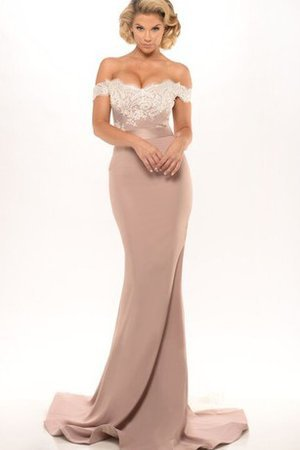 Off The Shoulder Sweep Train Lace Floor Length Backless Evening Dress