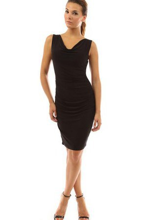 Sheath V-Neck Ruched Sleeveless Natural Waist Cocktail Dress