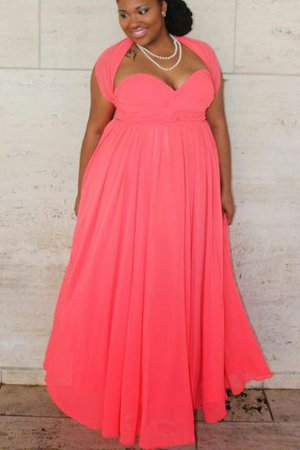 Sleeveless Floor Length Plus Size Chiffon Sweetheart Prom Dress