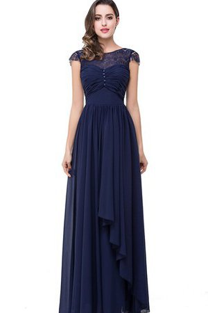 Pleated Capped Sleeves Lace Accented Bow Ruched Evening Dress