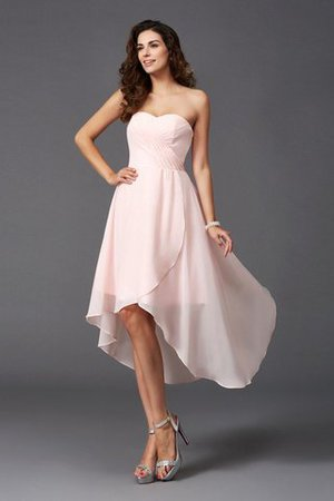 Asymmetrical Natural Waist Chiffon Ruffles Sweetheart Bridesmaid Dress