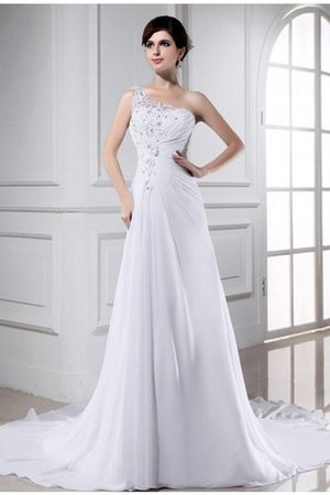 Appliques One Shoulder Chiffon Chapel Train A-Line Wedding Dress