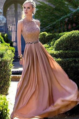 Pleated Sequins Floor Length Lace Fabric Natural Waist Prom Dress