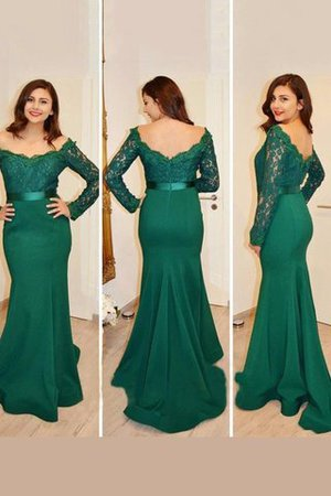 Satin Off The Shoulder Appliques Natural Waist Long Sleeves Prom Dress