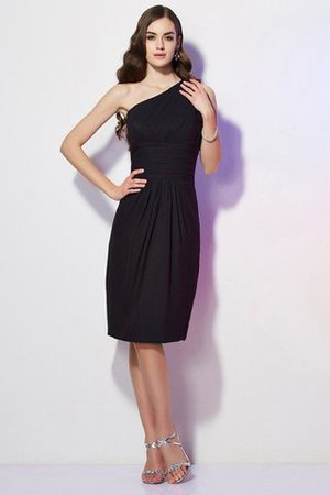 Beading Natural Waist One Shoulder Knee Length Bridesmaid Dress