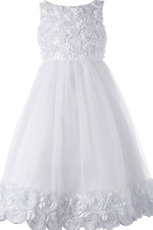 Pleated Bateau Floor Length A-Line Tulle Flower Girl Dress