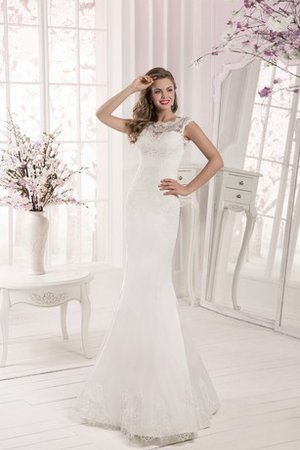 A-Line Natural Waist Crystal 3/4 Length Sleeves Tulle Wedding Dress
