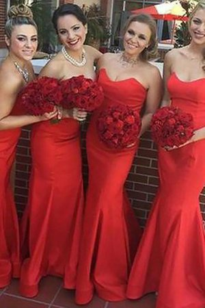 Natural Waist Sweetheart Sleeveless Satin Mermaid Bridesmaid Dress