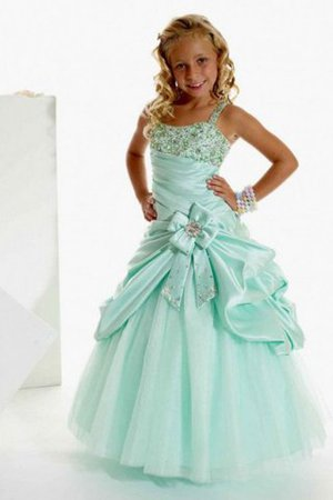 Floor Length Satin Beading Long A-Line Flower Girl Dress