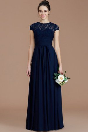 Chiffon Floor Length A-Line Jewel Short Sleeves Bridesmaid Dress