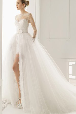 Rectangle Front Slit Ruffles V-Neck Wide Straps Wedding Dress